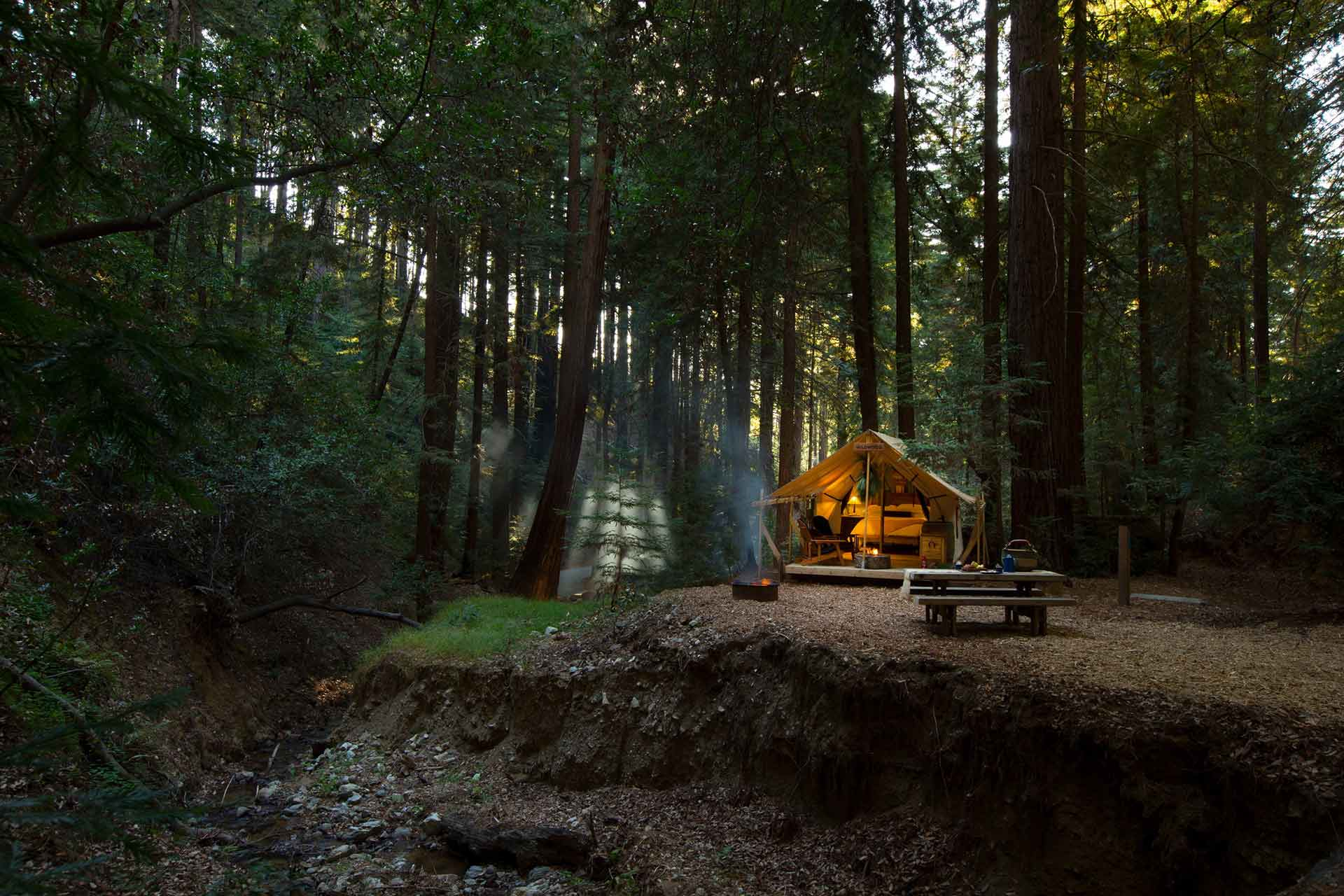 Glamping at the idyllic Redwoods